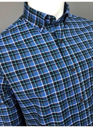 Abbate Kolay Ütülenır Düğmelı Yaka Ekose Regular Fıt Ceplı Gömlek Turkuaz